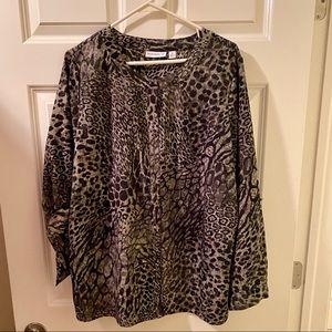 Susan Graver size 1X women's top with animal print